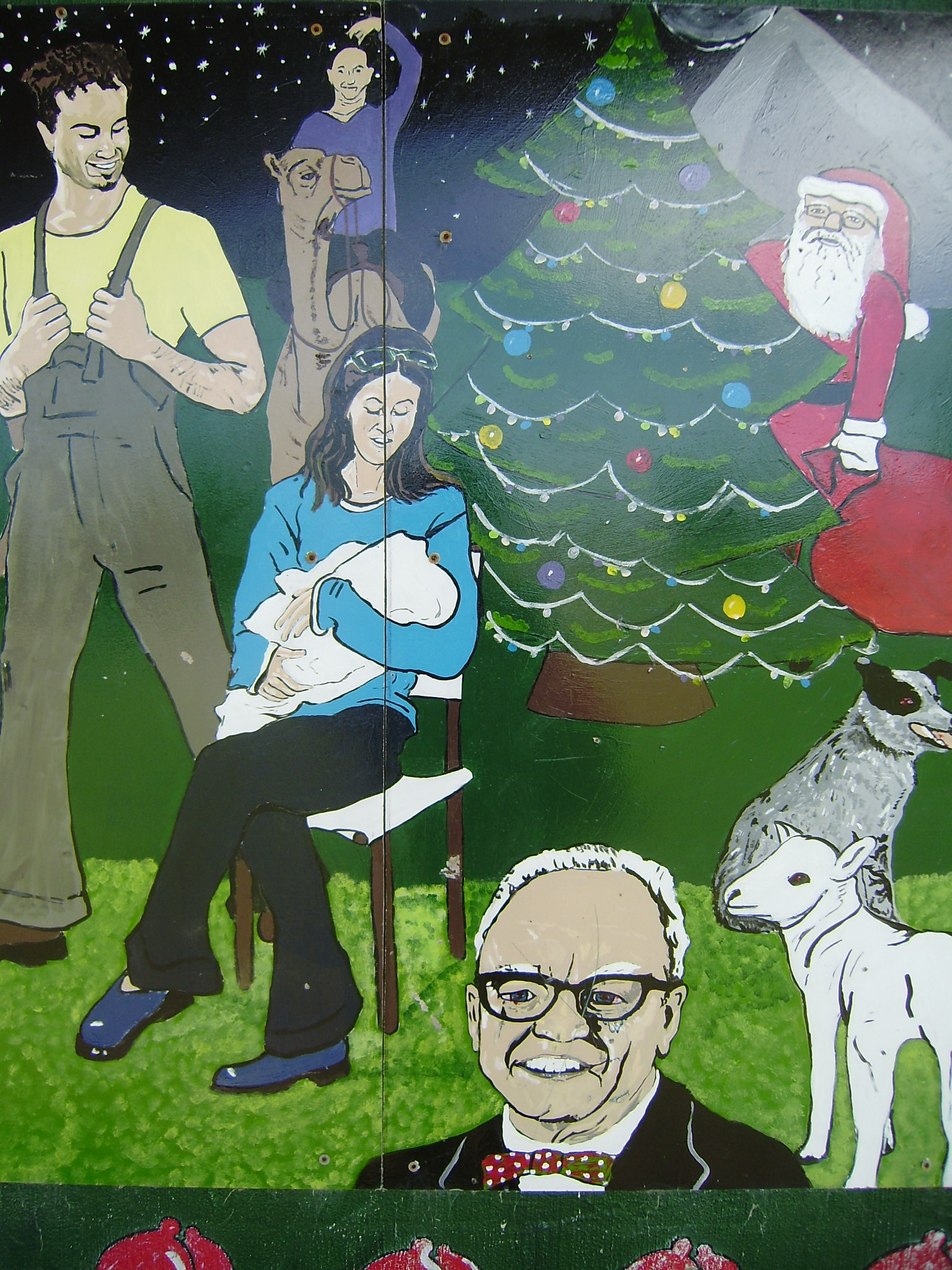 Santa hide sbehind the tree of proud parents; Grampa in the way, again.