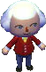 An image of my Happy Home Designer avatar. Wearing the default uniform, with smirky eyes, and a floofy white hairdo.